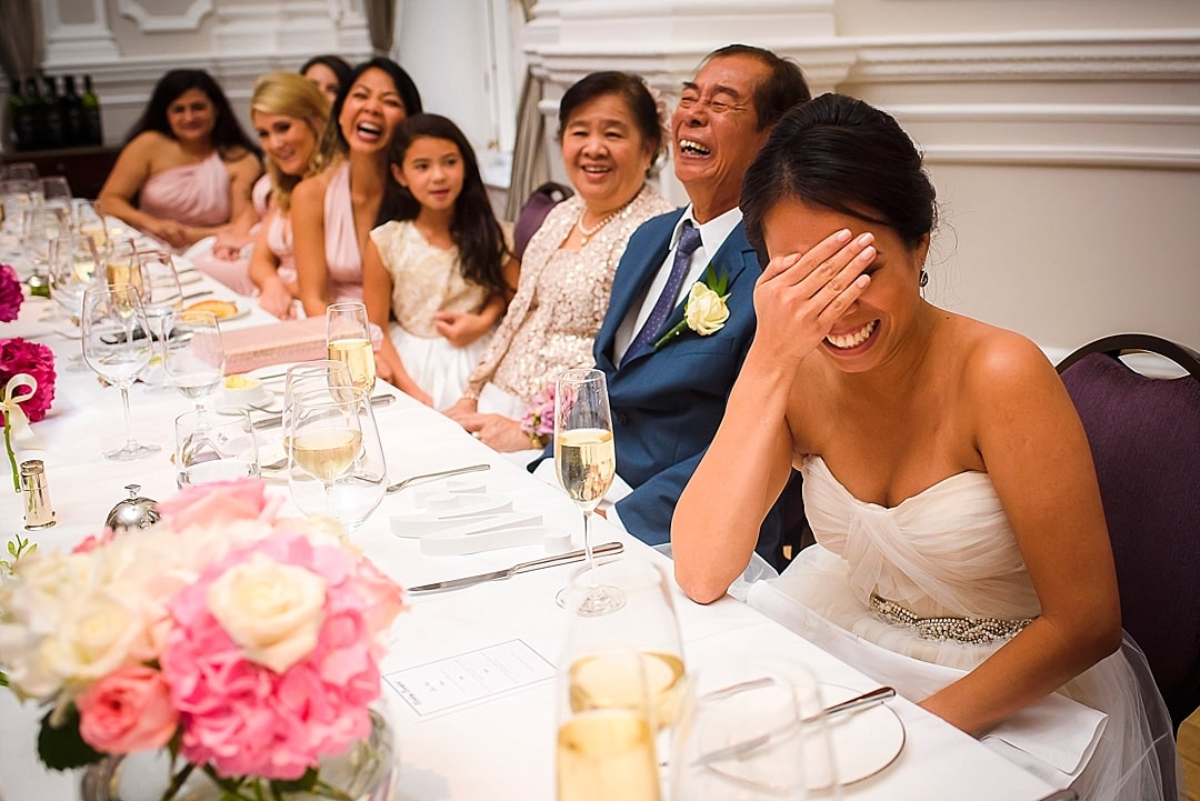 Corinthia Hotel Wedding Photographer bride embarrassed during the speech