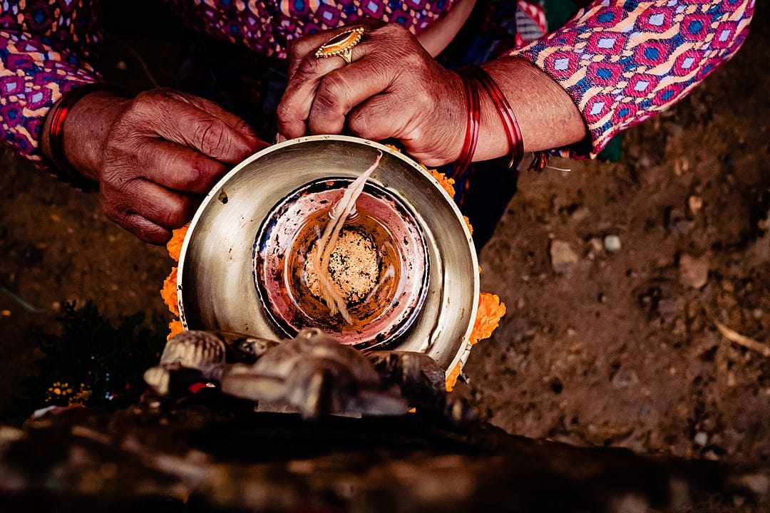 wedding photography in nepal oil lamp for puja