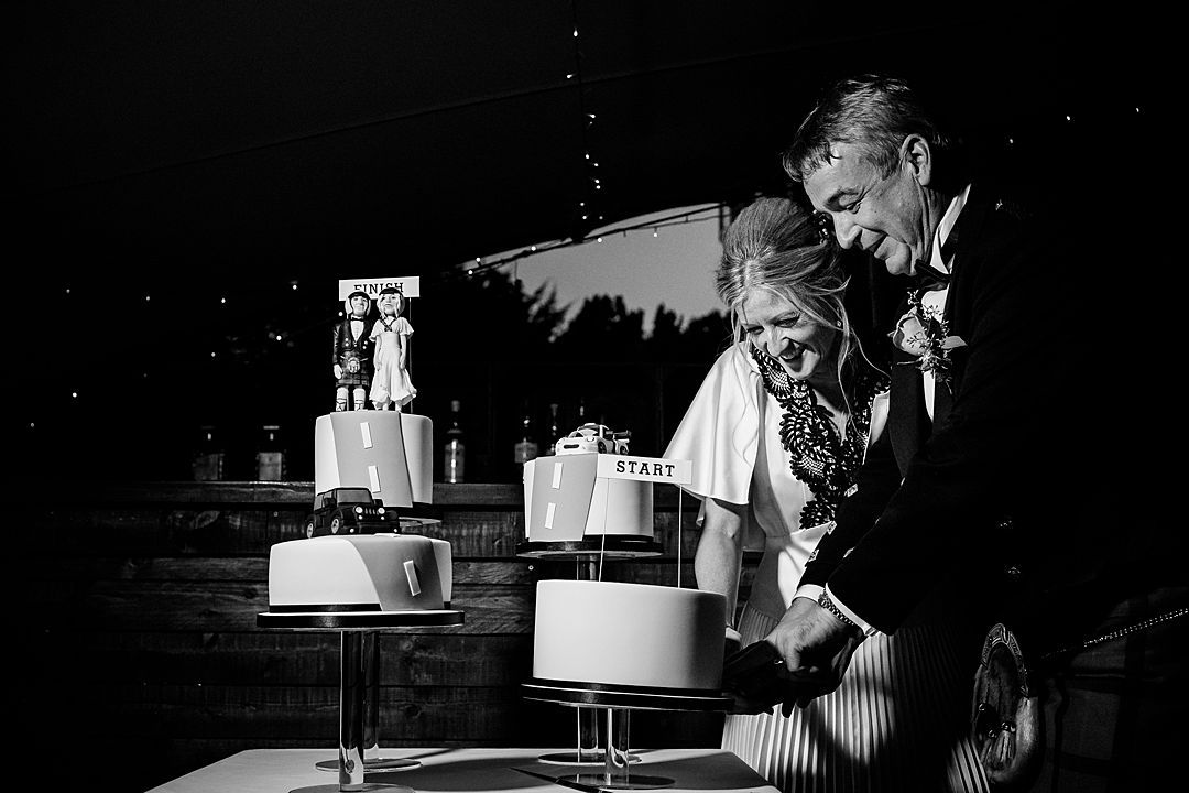 cutting the cake at the bingham riverhouse