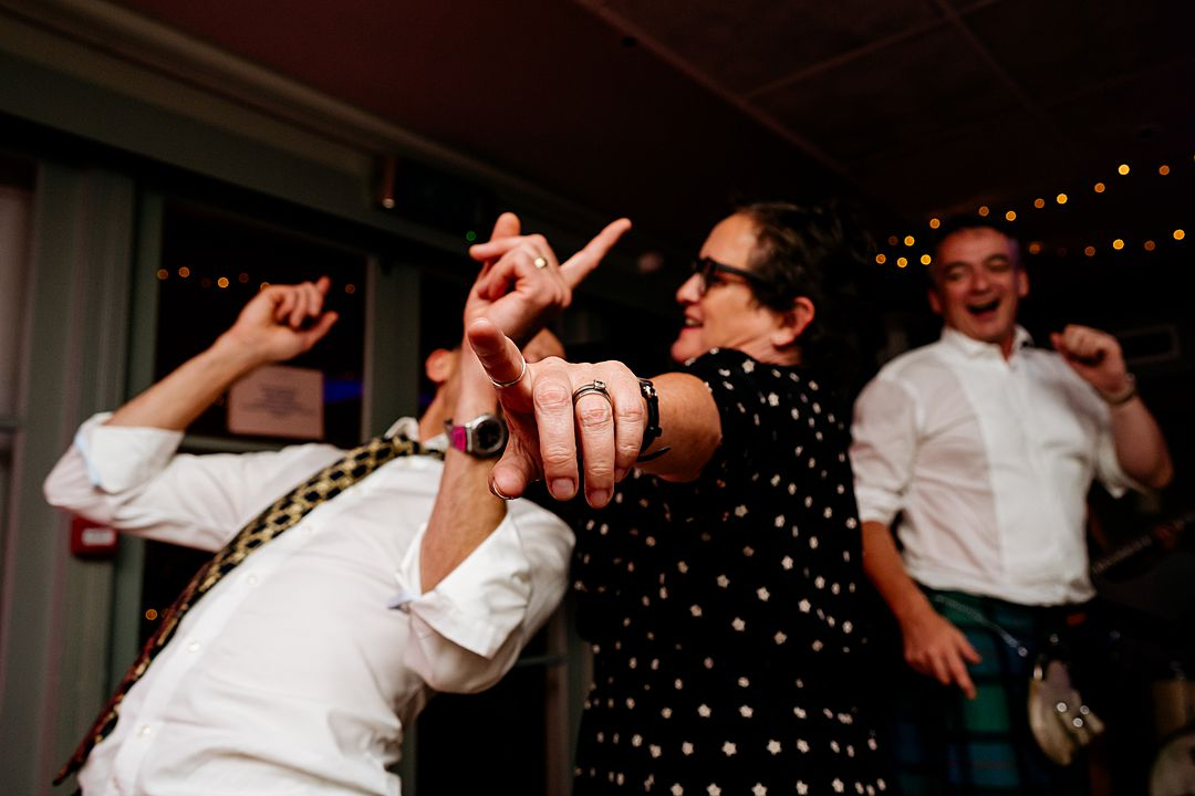 pointing and dancing at the bingham riverhouse