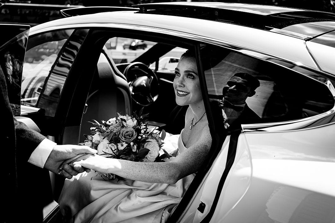 Moor Park Wedding Photography bride and groom arriving at Moor Park Mansion