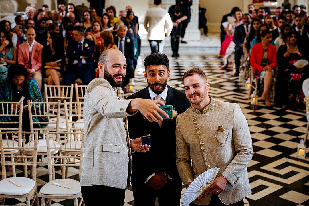 Syon Park Wedding Photography selfie with groom, making funny faces
