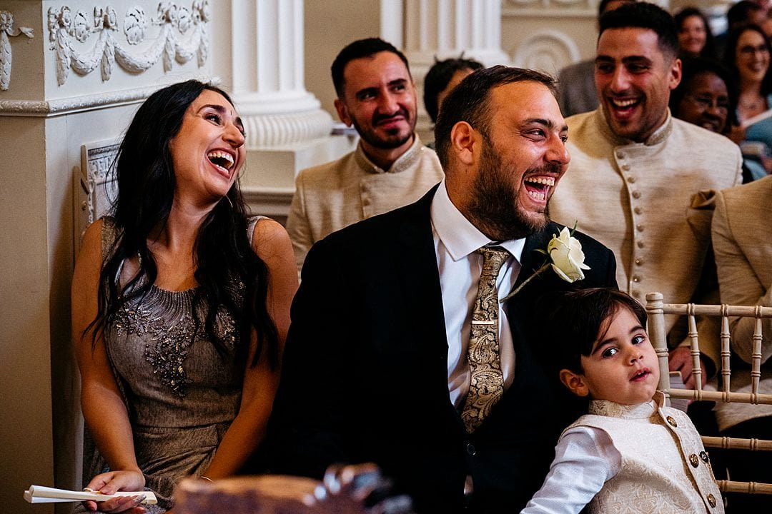 Syon Park Wedding Photography guests laughing