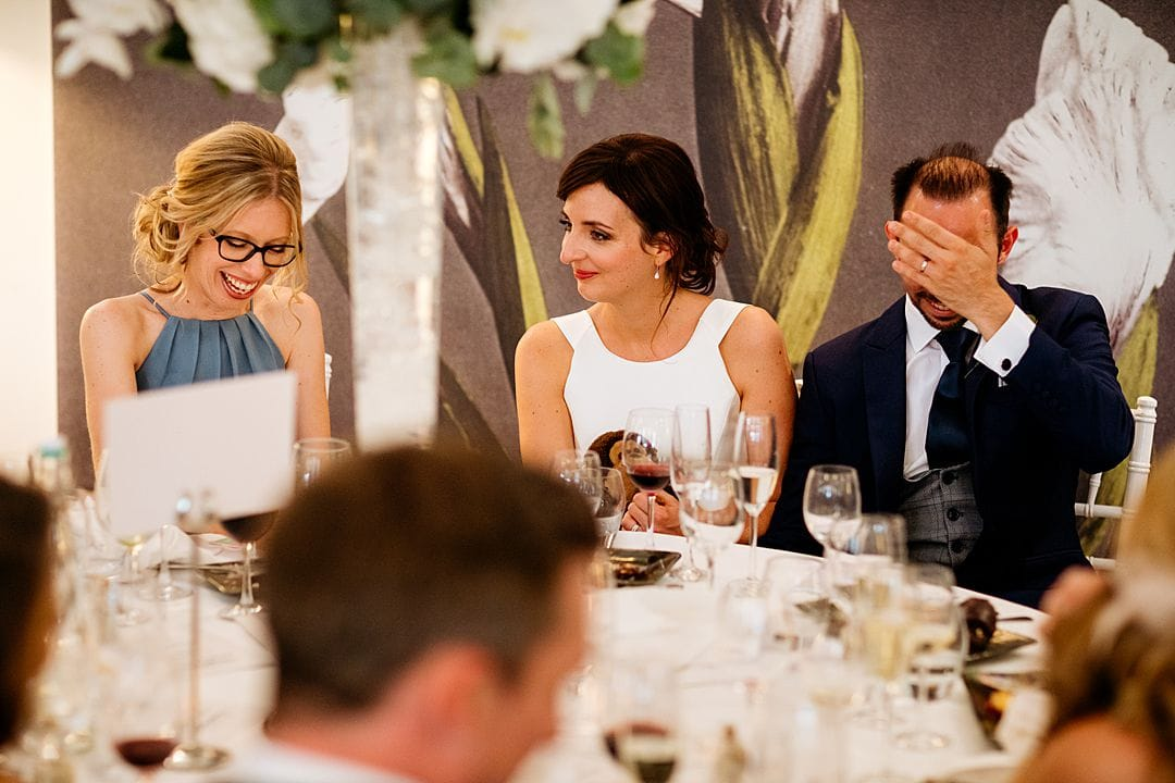 Reaction of the top table during the speech at The Wisley