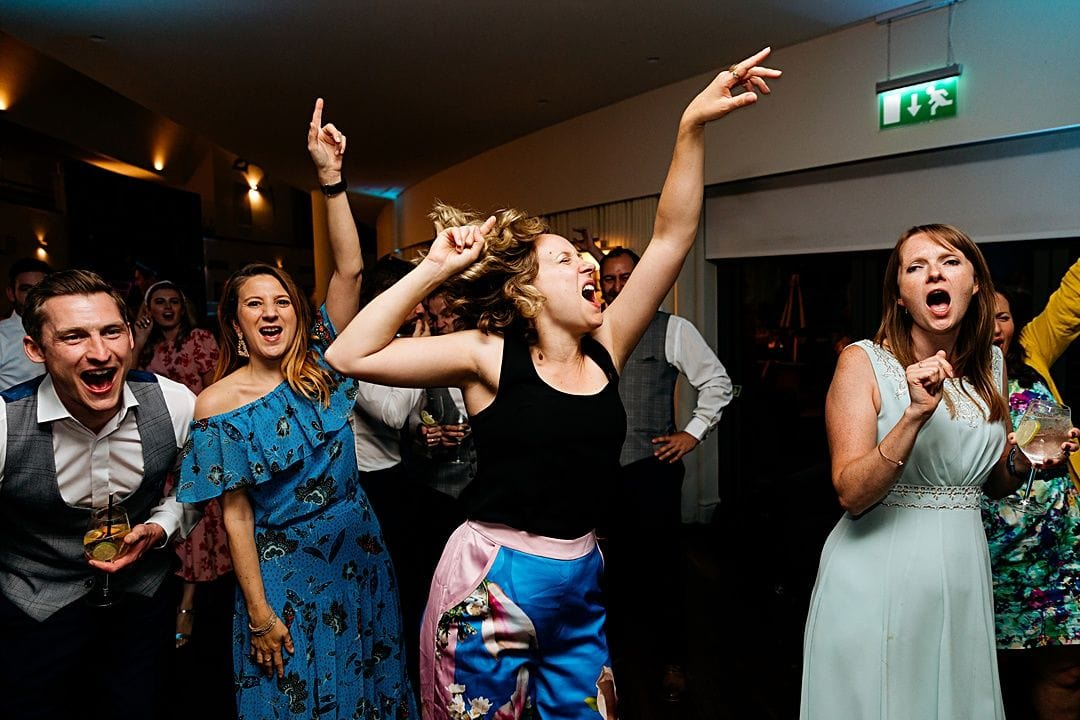 best wedding photography surrey 2019 lots of guests dancing at the wisely