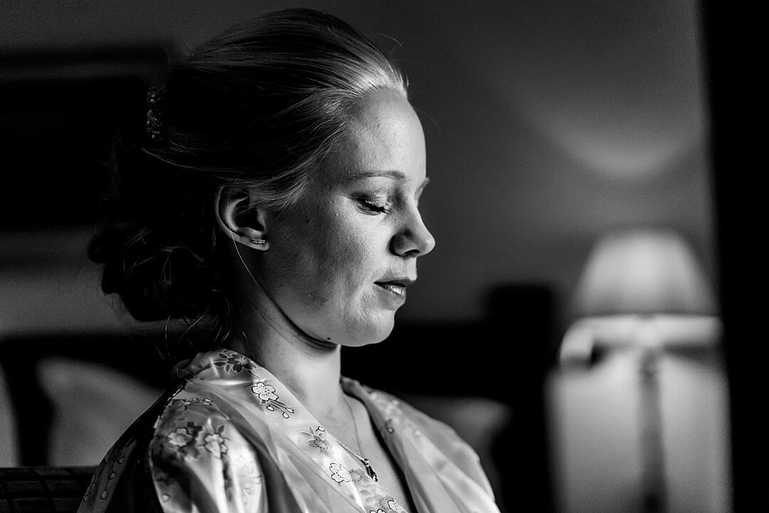 bride getting ready at great fosters